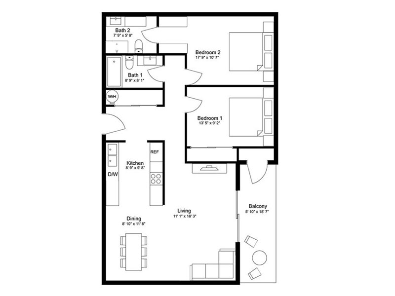 Our 2x2E is a 2 Bedroom, 2 Bathroom Apartment