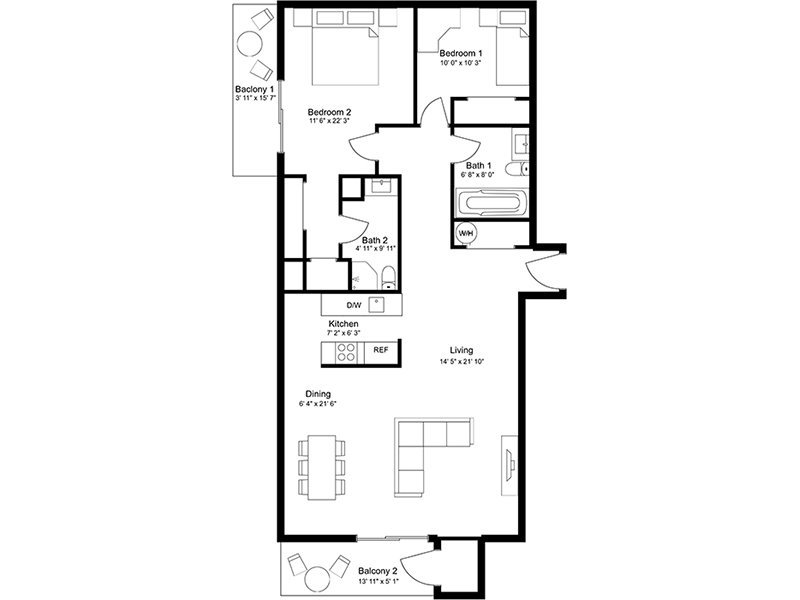 Our 2x2F is a 2 Bedroom, 2 Bathroom Apartment