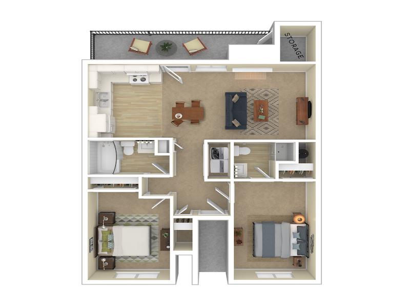 Our 2 Bedroom 2 Bathroom 960 is a 2 Bedroom, 2 Bathroom Apartment