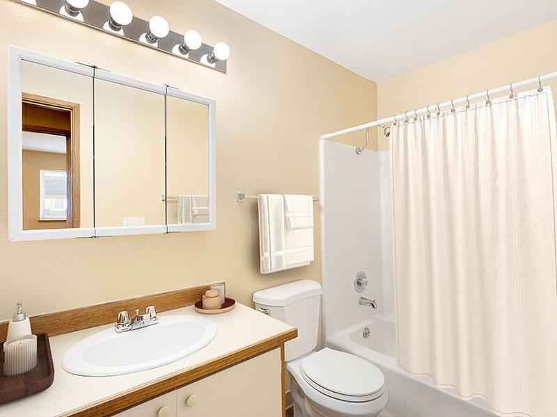 Bathroom | Van Plaza Apartments in Vancouver, WA