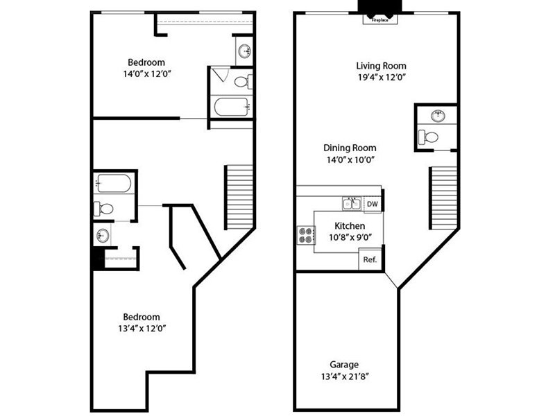 Our 2 Bedroom 3 Bathroom Townhome R is a 2 Bedroom, 3 Bathroom Apartment