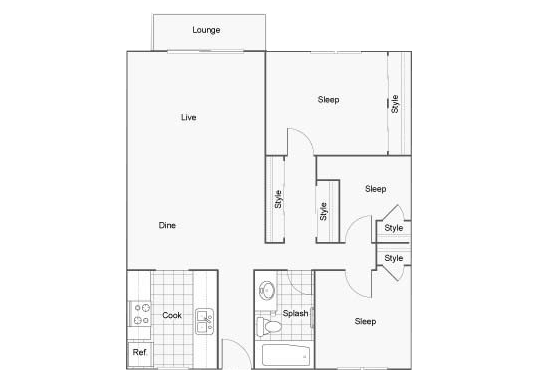 Floorplan for The Row Apartments