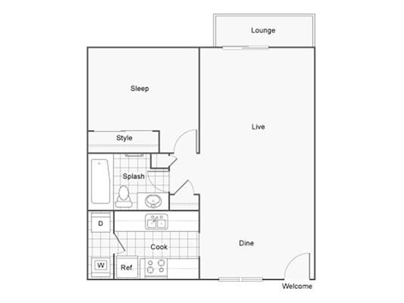 Our 1X1D is a 1 Bedroom, 1 Bathroom Apartment