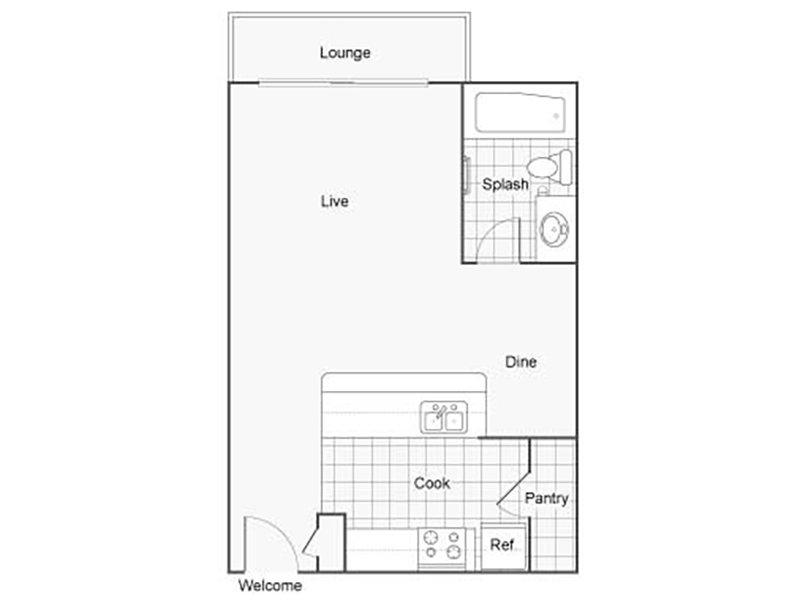 Our STUB is a Studio Bedroom, 1 Bathroom Apartment