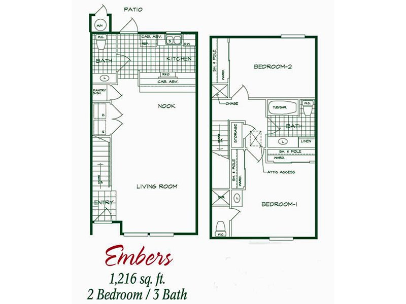 Our Embers is a 2 Bedroom, 2.5 Bathroom Apartment