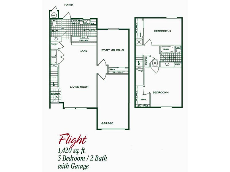 Our Flight is a 3 Bedroom, 1.5 Bathroom Apartment