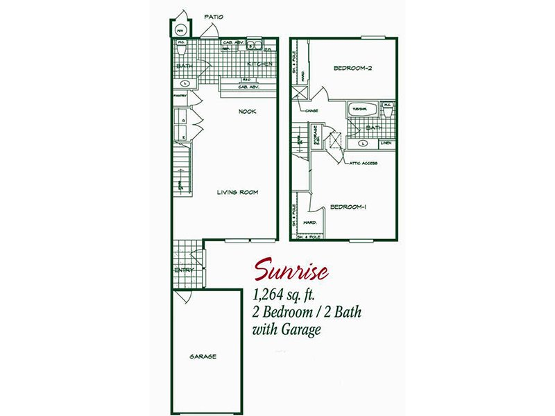 Our Sunrise is a 2 Bedroom, 1.5 Bathroom Apartment