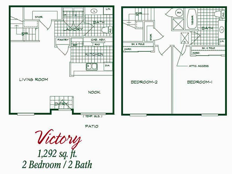 Our Victory is a 2 Bedroom, 1.5 Bathroom Apartment