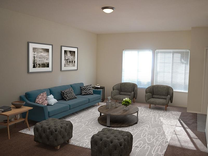 Living Room | Ascent Townhome Apartments Apartments