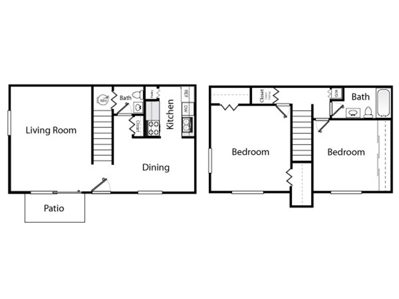Our 2x1.5 is a 2 Bedroom, 1.5 Bathroom Apartment