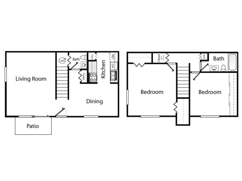 Our 2x2 W/D Townhome is a 2 Bedroom, 2 Bathroom Apartment