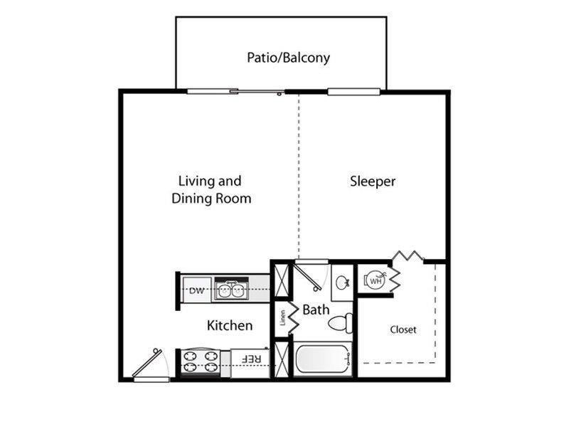 Our Studio Enhanced is a STUDIO Bedroom, 1 Bathroom Apartment