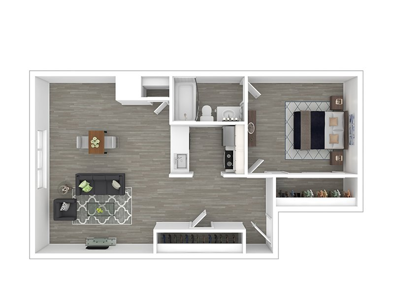 Our 1X1 LOW is a 1 Bedroom, 1 Bathroom Apartment