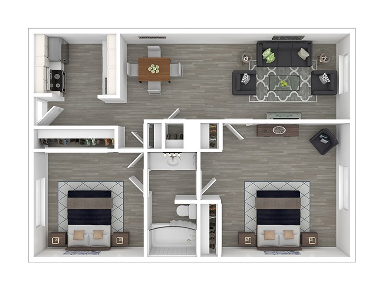 Our 2x1 Low is a 2 Bedroom, 1 Bathroom Apartment