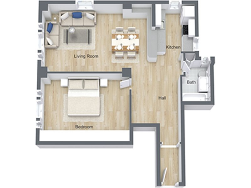 Our 1x1 Lg-06 is a 1 Bedroom, 1 Bathroom Apartment