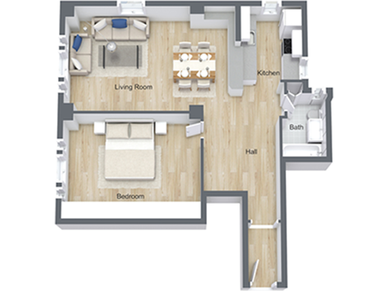 Our 1x1 Lg-06 U is a 1 Bedroom, 1 Bathroom Apartment
