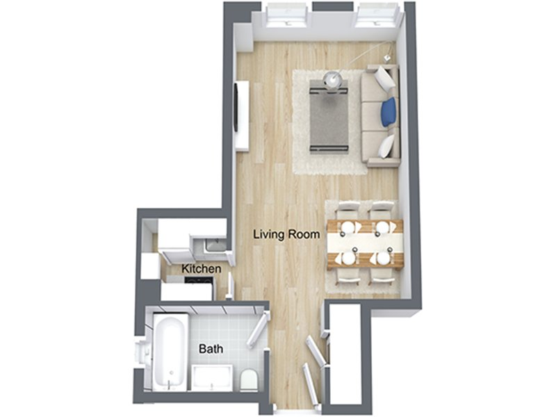 Our EFF-10 is a Studio Bedroom, 1 Bathroom Apartment