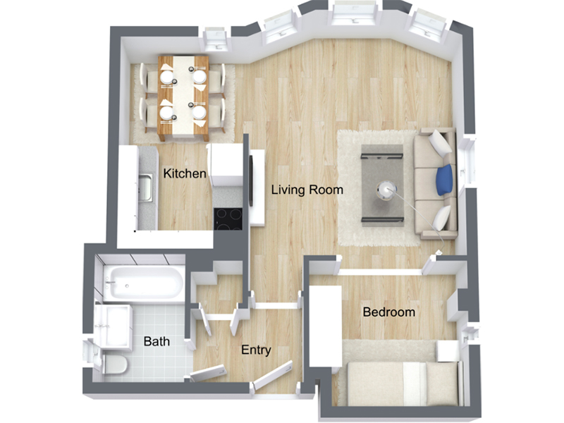 Our Jr 1x1-02 R is a 1 Bedroom, 1 Bathroom Apartment
