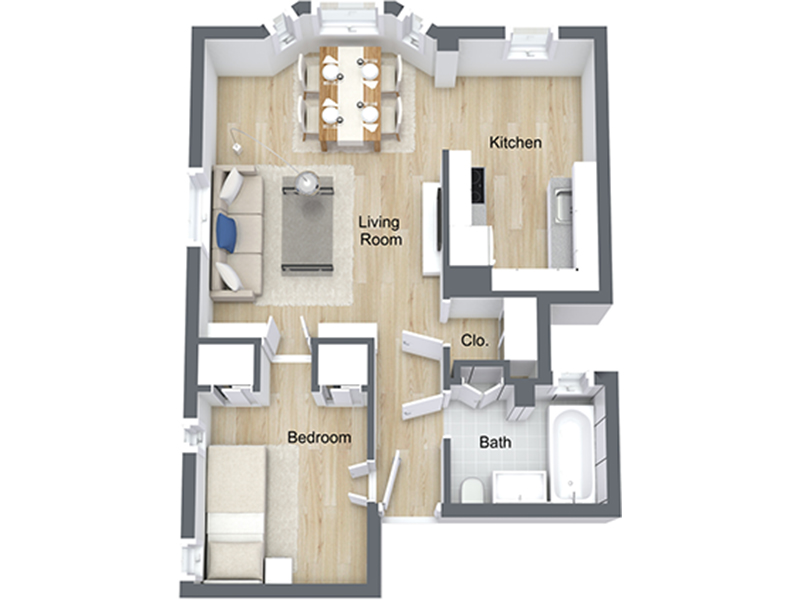 Our Jr 1x1-03 R is a 1 Bedroom, 1 Bathroom Apartment