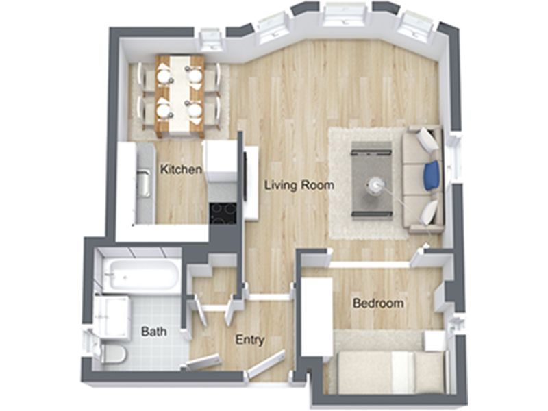 Our Jr 1x1-04 R is a 1 Bedroom, 1 Bathroom Apartment