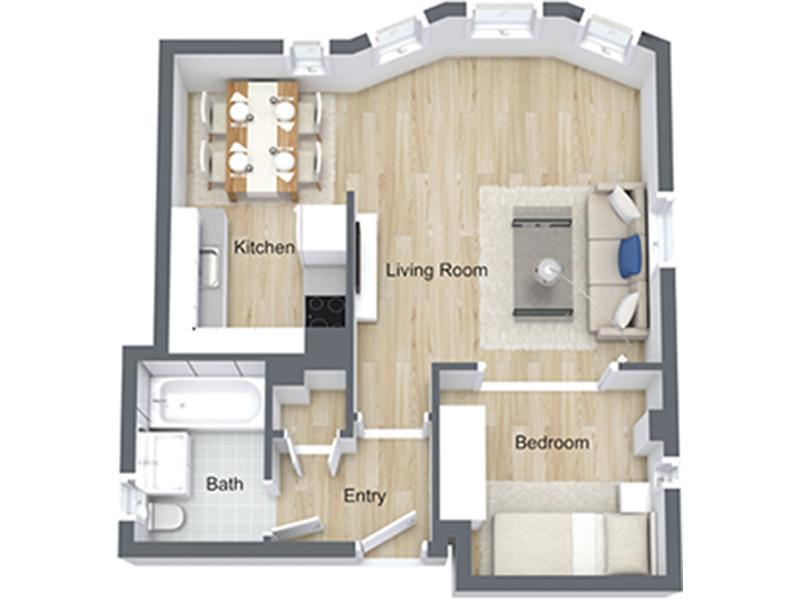Our Jr 1x1-04 U is a 1 Bedroom, 1 Bathroom Apartment