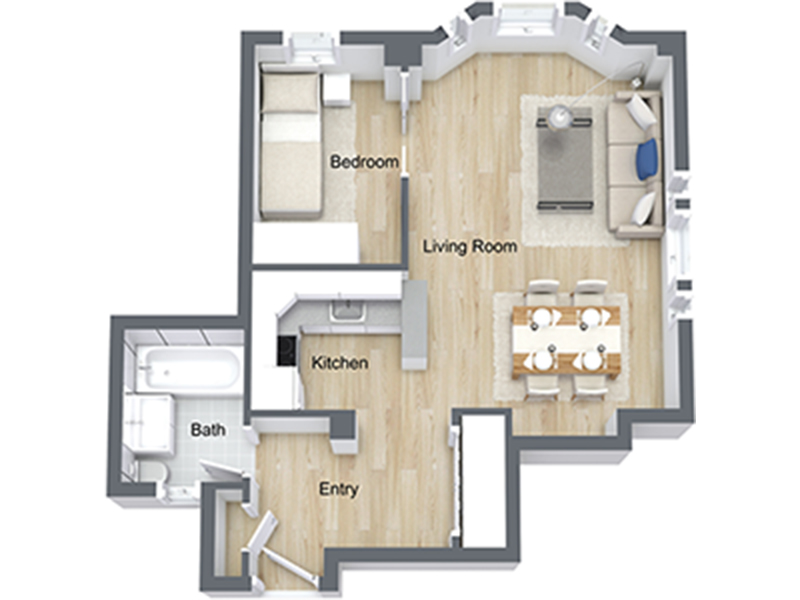 Our Jr 1x1-08 R is a 1 Bedroom, 1 Bathroom Apartment