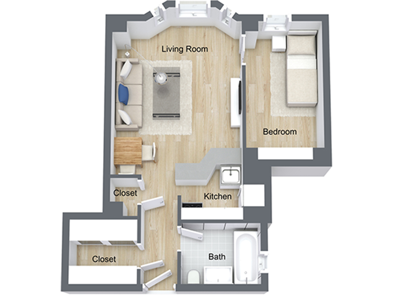 Our Jr 1x1-09 R is a 1 Bedroom, 1 Bathroom Apartment