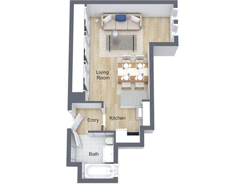 Our Studio-05 R is a Studio Bedroom, 1 Bathroom Apartment