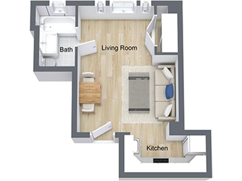 Our Studio-07 R is a Studio Bedroom, 1 Bathroom Apartment