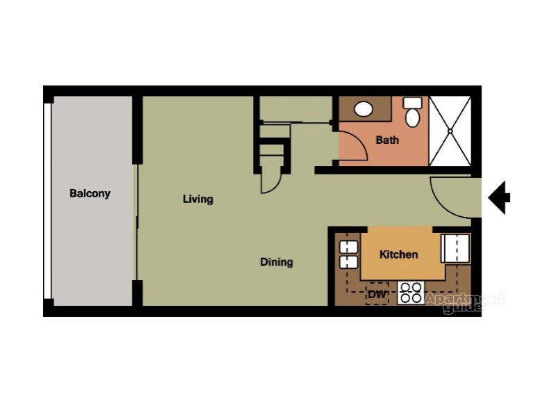 Our Unit A is a Studio Bedroom, 1 Bathroom Apartment