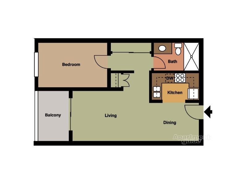 Our Unit B is a 1 Bedroom, 1 Bathroom Apartment