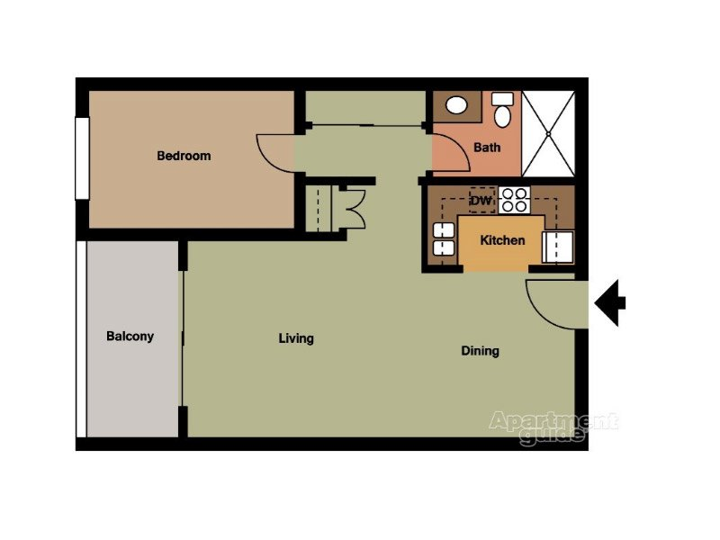 Our Unit C is a 1 Bedroom, 1 Bathroom Apartment