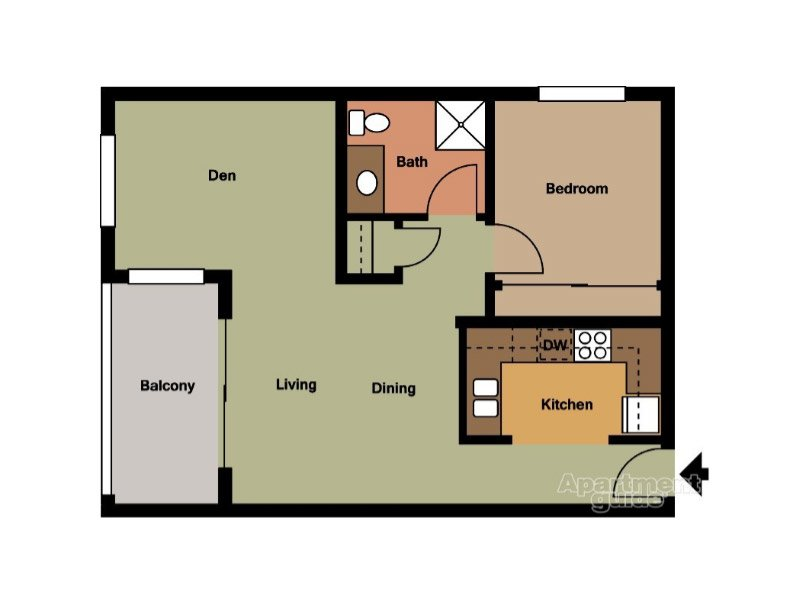 Our Unit D is a 1 Bedroom, 1 Bathroom Apartment