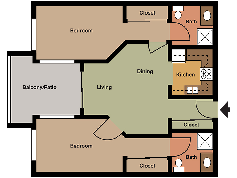 Our Unit E is a 2 Bedroom, 2 Bathroom Apartment