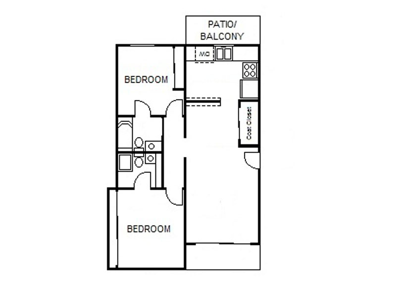 Our 2x1 MD is a 2 Bedroom, 1 Bathroom Apartment