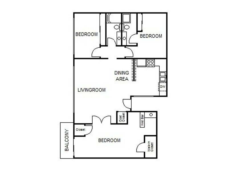 Our 3x2 LG is a 3 Bedroom, 2 Bathroom Apartment