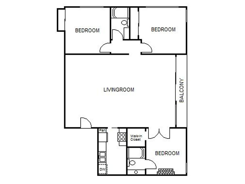 Our 3x2 MD is a 3 Bedroom, 2 Bathroom Apartment