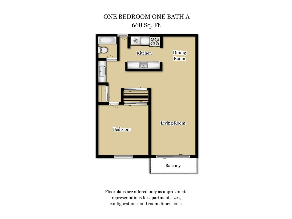 Our 1 Bed 1 Bath Plan A is a 1 Bedroom, 1 Bathroom Apartment