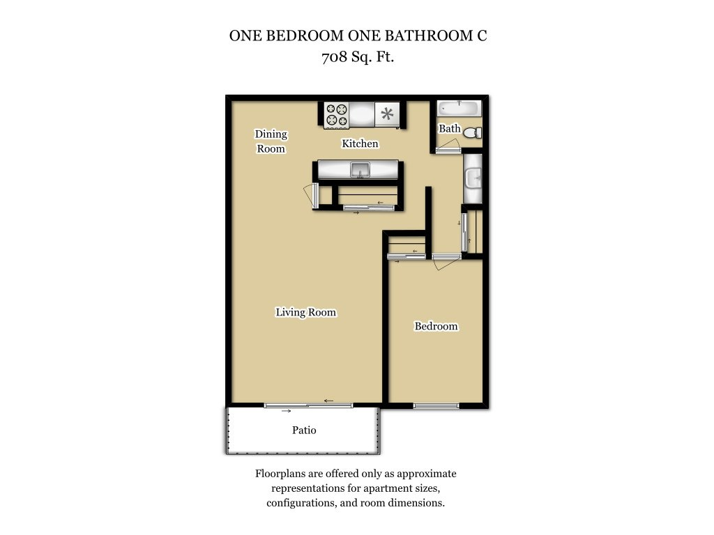 Our 1 Bed 1 Bath Plan C is a 1 Bedroom, 1 Bathroom Apartment
