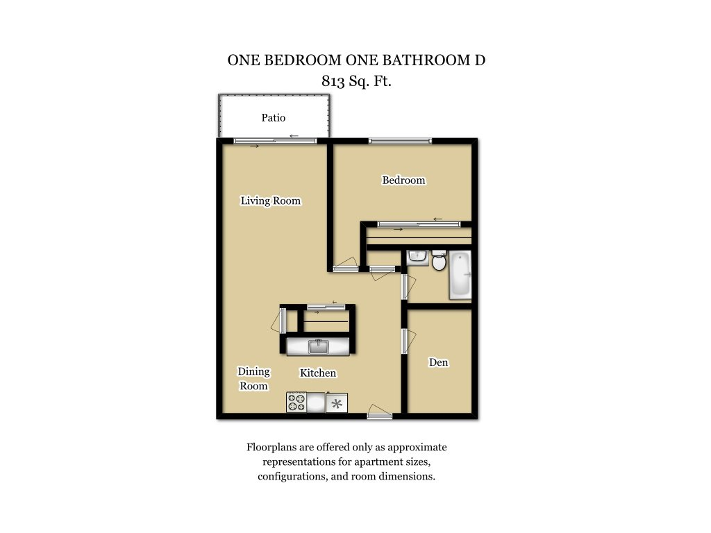 Our 1 Bed 1 Bath Plan D is a 1 Bedroom, 1 Bathroom Apartment