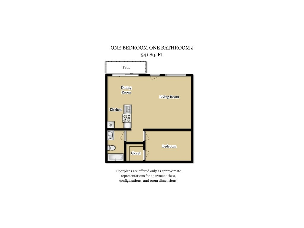 Our 1 Bed 1 Bath Plan J is a 1 Bedroom, 1 Bathroom Apartment
