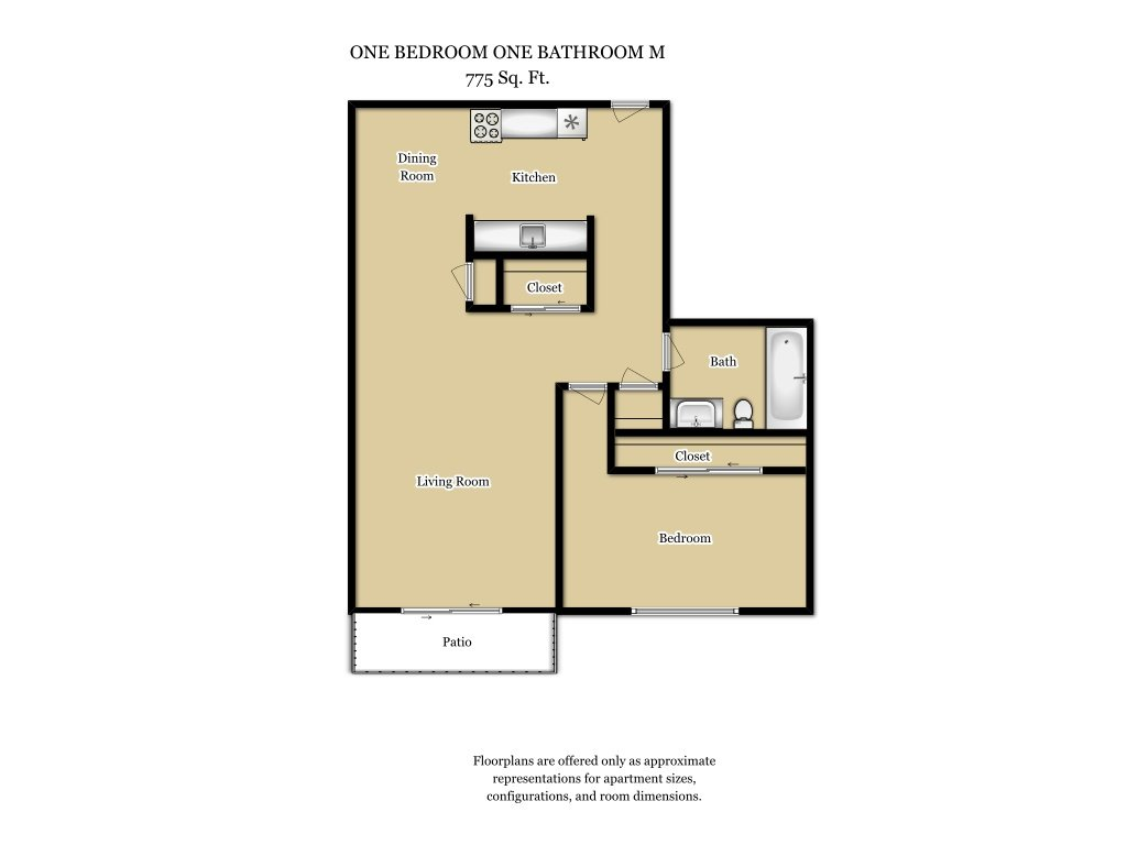 Our 1 Bed 1 Bath Plan M is a 1 Bedroom, 1 Bathroom Apartment