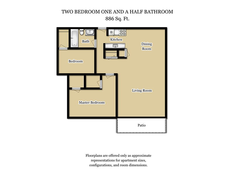 Our 2 Bed 1.5 Bath Plan A is a 2 Bedroom, 1.5 Bathroom Apartment
