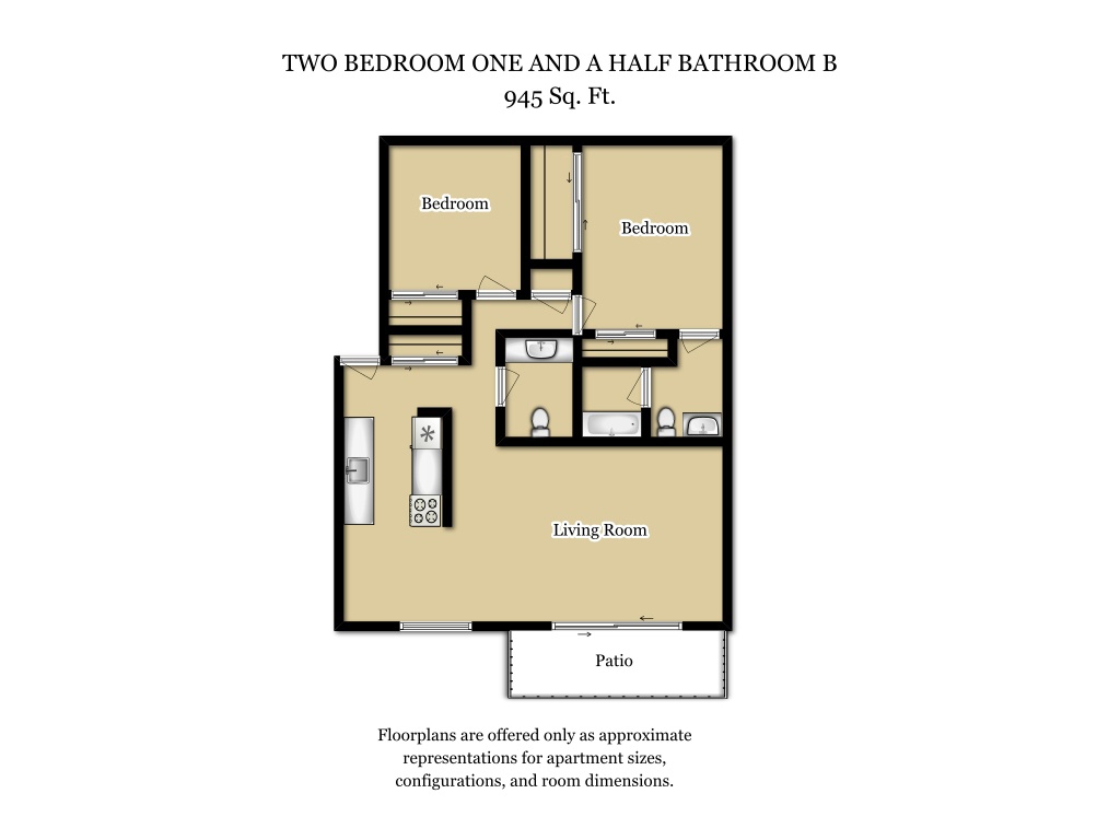 Our 2 Bed 1.5 Bath Plan B is a 2 Bedroom, 1.5 Bathroom Apartment