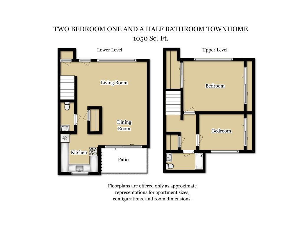 Our 2 Bed 1.5 Bath Plan T is a 2 Bedroom, 1.5 Bathroom Apartment