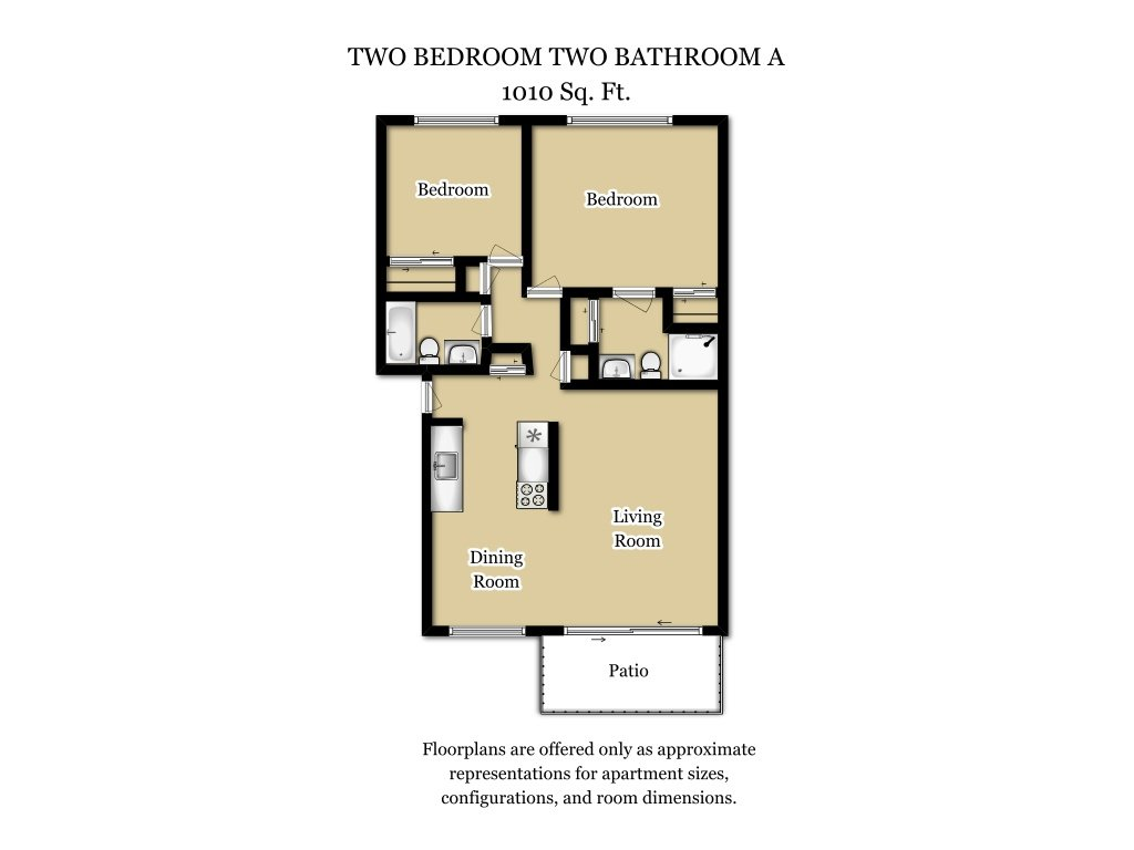 Our 2 Bed 2 Bath Plan A is a 2 Bedroom, 2 Bathroom Apartment