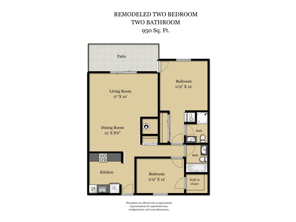 Our 2 Bed 2 Bath Plan R is a 2 Bedroom, 2 Bathroom Apartment