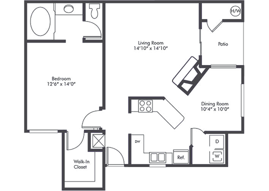 Floorplan for Studio Arnaz Apartments