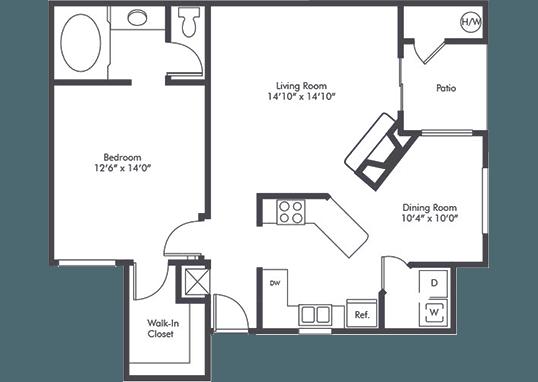 Floorplan for Studio Arnaz Apartments