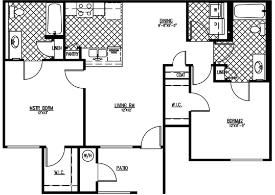 Floorplan for Courtyard on 68th Apartments